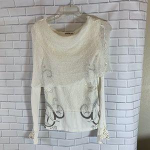 Psylo UK Winter White Mesh & Knit Scroll Top Sz 2